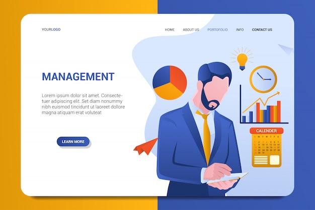 Modelo de vetor de fundo de página de destino de gerenciamento Vetor Premium