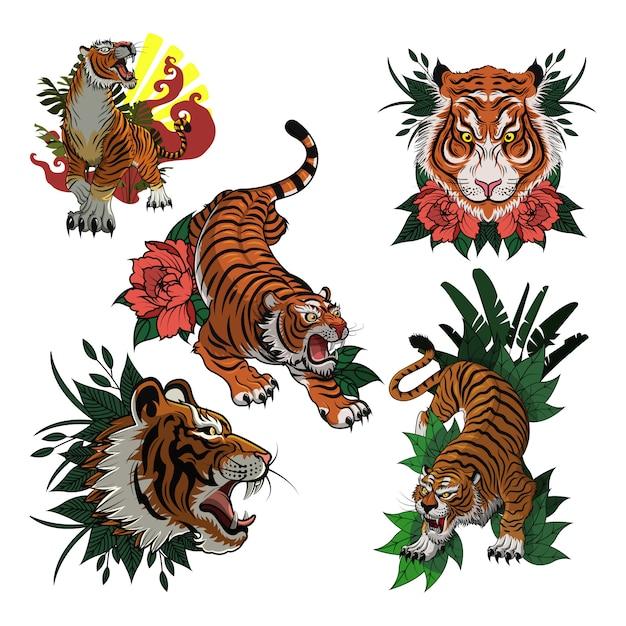 Modelo de vetor de ícone colorido de coleção de tigre Vetor Premium