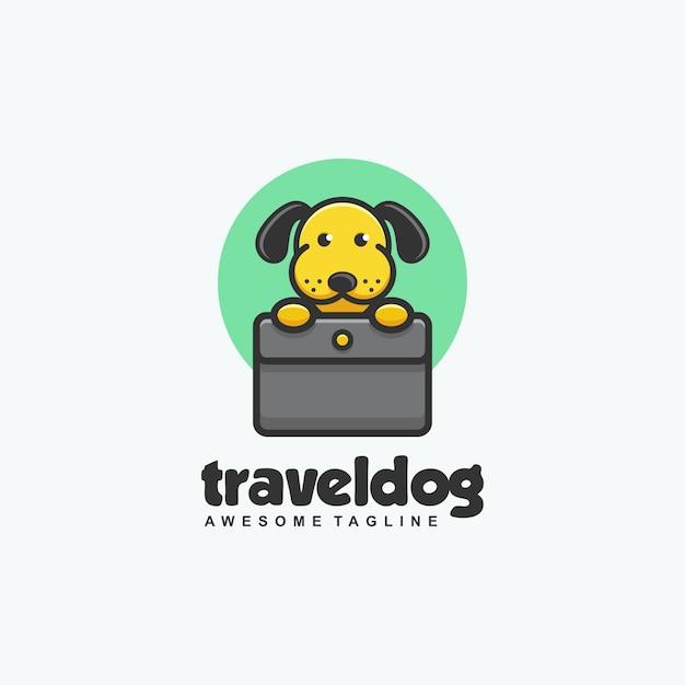 Modelo de vetor de ilustração de cão de viagem Vetor Premium