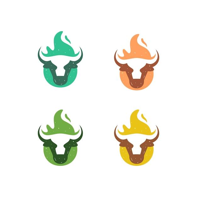 Modelo de vetor de ilustração de fogo de vaca Vetor Premium