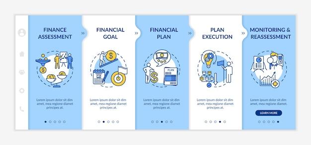 Modelo de vetor de integração de processo de planejamento financeiro. meta de orçamento Vetor Premium