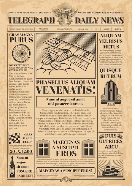 Modelo de vetor de jornal velho. papel de jornal retro com texto e imagens. vintage de jornal com ilustração de coluna de artigo de texto Vetor Premium