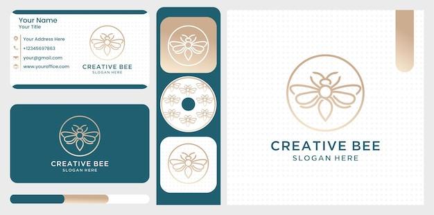 Modelo de vetor de logotipo de ideia criativa de abelha Vetor Premium