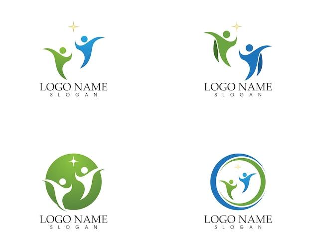 Modelo de vetor de logotipo de pessoas de cuidados de saúde Vetor Premium