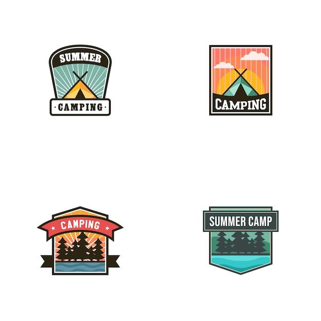 Modelo de vetor de logotipo vintage acampamento de verão Vetor Premium