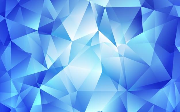 Modelo de vetor de luz azul com cristais, triângulos. Vetor Premium