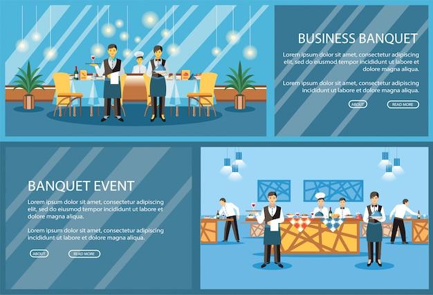 Modelo de vetor de página de aterrissagem plana de restaurante Vetor Premium