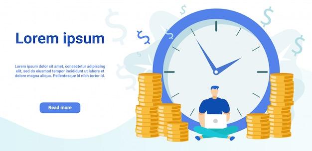 Modelo de vetor de página de destino de plataforma de negócios Vetor Premium