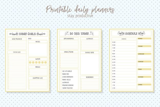 Modelo de vetor de planejador diário de estilo limpo. design de papelaria Vetor Premium
