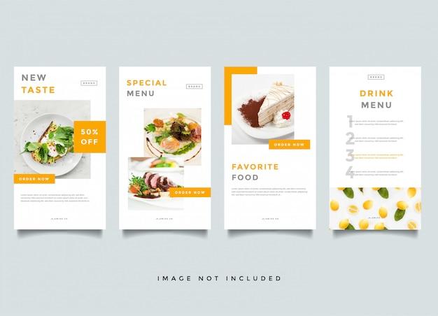 Modelo de vetor de promoção de histórias de instagram de comida e culinária Vetor Premium