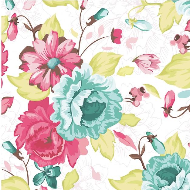Modelo de vetor floral folhas sem costura padrão fundo Vetor Premium