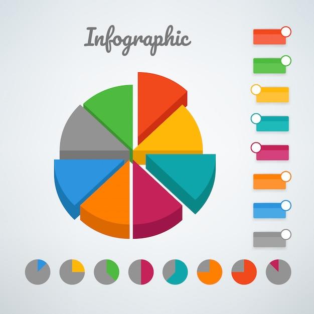 Modelo de vetor infográfico de gráfico de pizza cor. modelo de vetor para apresentação Vetor Premium