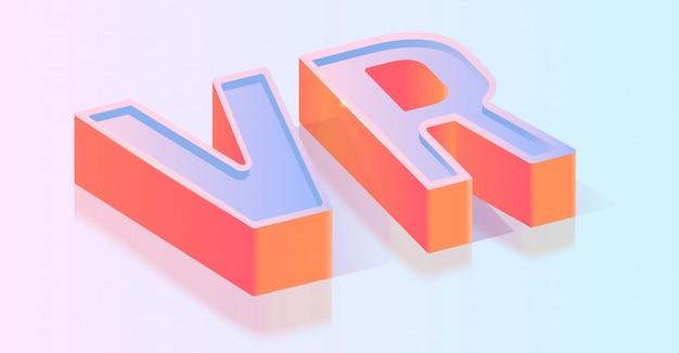Modelo de vetor isométrica de título de texto 3d vr Vetor Premium