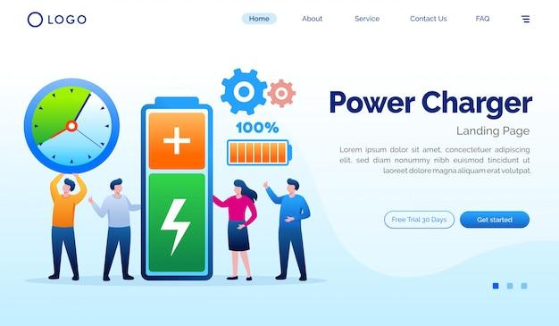 Modelo de vetor plana de site de página de destino de carregador de energia Vetor Premium