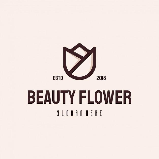 Modelo de vetor vintage retrô de flor beleza logotipo Vetor Premium