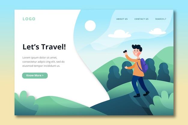 Modelo de viagem para página de destino Vetor grátis