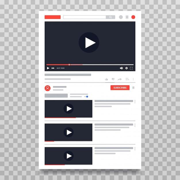Modelo de vídeo do youtube, layout do pc do player de vídeo conteúdo de vídeo online Vetor Premium