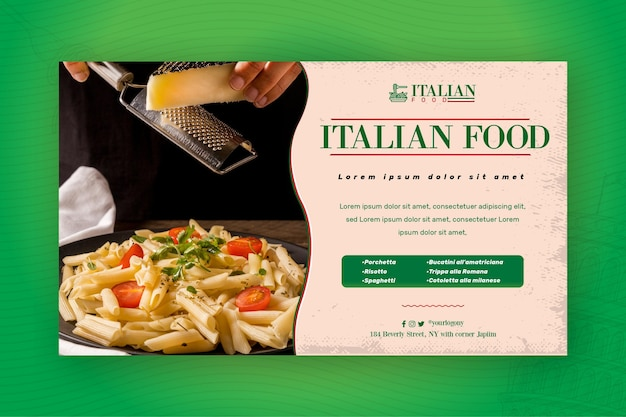 Modelo de web banner de comida italiana Vetor grátis