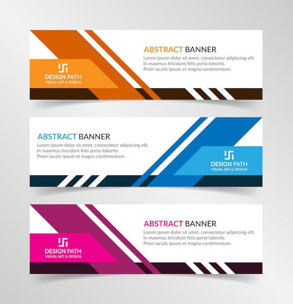 Modelo de web banner moderno design abstrato de vetor Vetor Premium