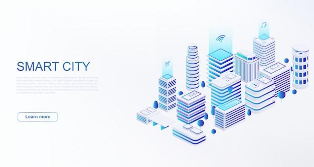 Modelo de web cidade inteligente com edifícios inteligentes conectados à rede de computadores Vetor Premium
