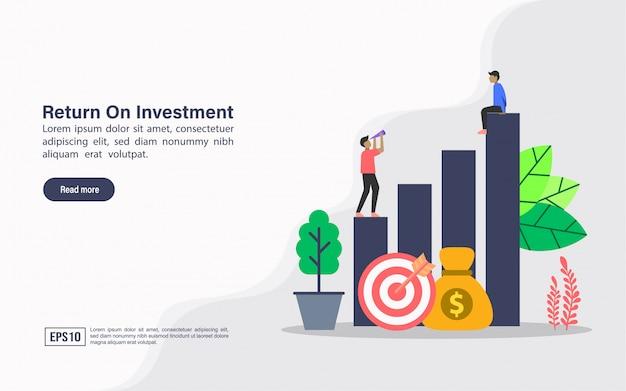 Modelo de web da página de destino de retorno do investimento Vetor Premium