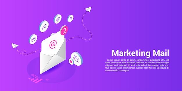 Modelo de web da página de destino para agências de email ou de marketing Vetor Premium