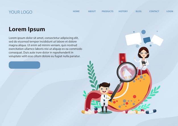 Modelo de web da página de destino para doença do refluxo gastro-esofágico (drge) Vetor Premium