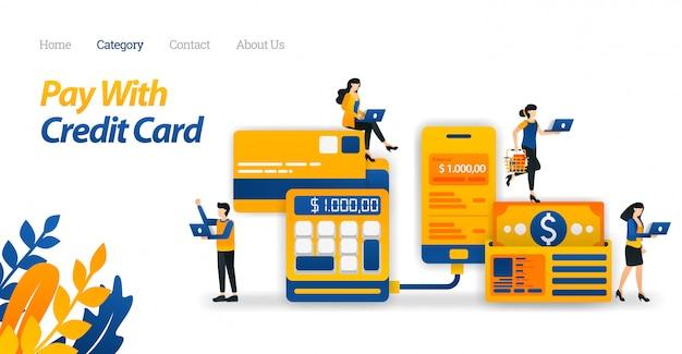 Modelo de web da página de destino para pagamentos com cartão de crédito, para facilitar o gerenciamento de despesas e economizar dinheiro. o negócio. ilustração vetorial Vetor Premium