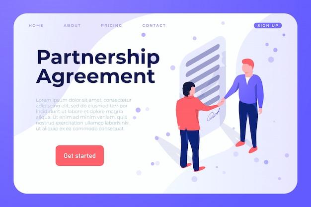 Modelo de web de acordo de parceria Vetor Premium