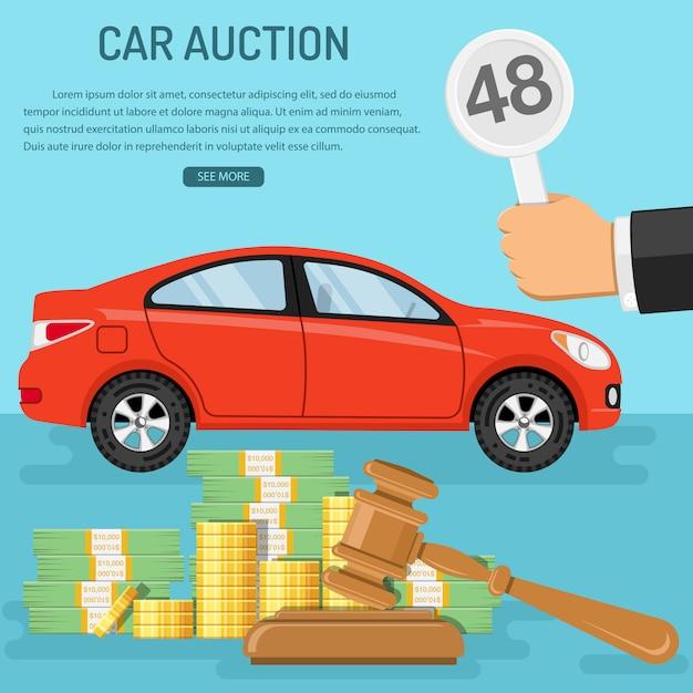 Modelo de web de carro de venda em leilão Vetor Premium