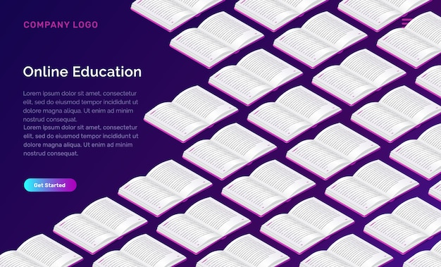 Modelo de web de educação on-line Vetor grátis