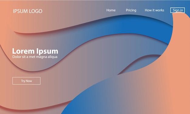 Modelo de web de página de aterragem geométrica. Vetor Premium