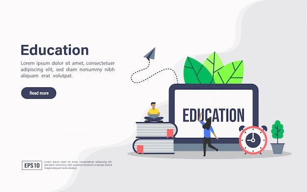 Modelo de web de página de aterrissagem de educação Vetor Premium