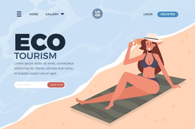 Modelo de web de página de aterrissagem de turismo ecológico Vetor grátis