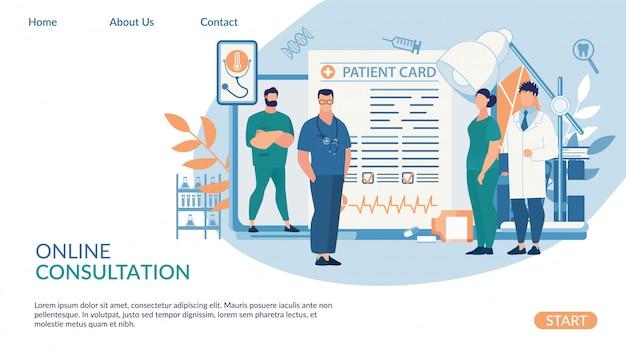 Modelo de web de página de aterrissagem para consulta on-line, rotulação de cartão de paciente. Vetor Premium