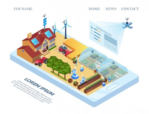 Modelo de web de página de destino com smart farm allocation flat. Vetor Premium
