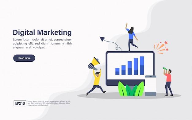 Modelo de web de página de destino de marketing digital Vetor Premium