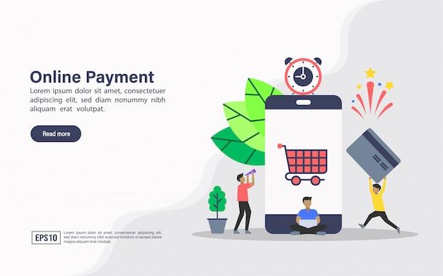 Modelo de web de página de destino de pagamento on-line Vetor Premium