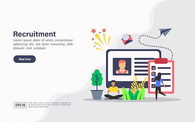 Modelo de web de página de destino do recrutamento Vetor Premium
