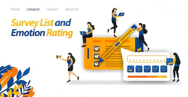 Modelo de web de página de destino para clientes realizar pesquisas de satisfação para serviços de loja on-line e fornecer várias avaliações emocionais com emoticon. Vetor Premium