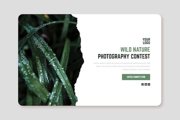 Modelo de web de página de embarque de concurso de fotografia de natureza selvagem Vetor grátis