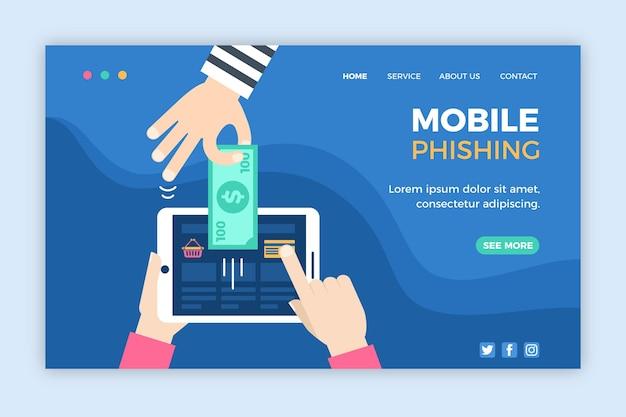 Modelo de web de phishing para celular Vetor grátis