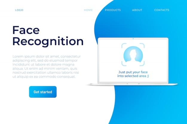 Modelo de web do sistema de reconhecimento de rosto Vetor Premium