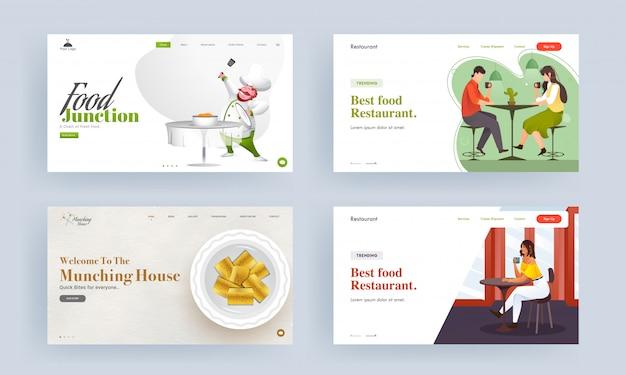 Modelo de web responsivo ou página de destino do melhor restaurante de comida, casa para mastigar e junção de alimentos. Vetor Premium