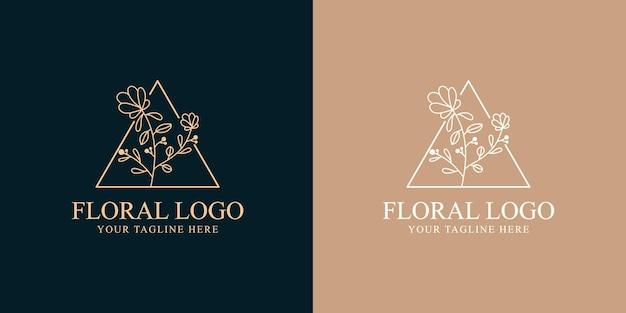 Modelo desenhado à mão de beleza feminina e logotipo botânico floral para cuidados com os cabelos e pele de salão de spa Vetor Premium