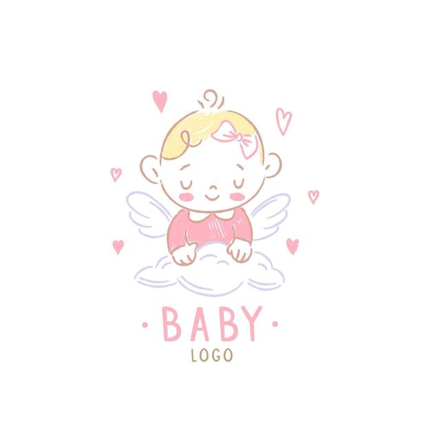 Modelo detalhado do logotipo do bebê Vetor Premium