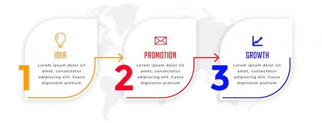 Modelo direcional de infográfico de negócios moderno três etapas Vetor grátis