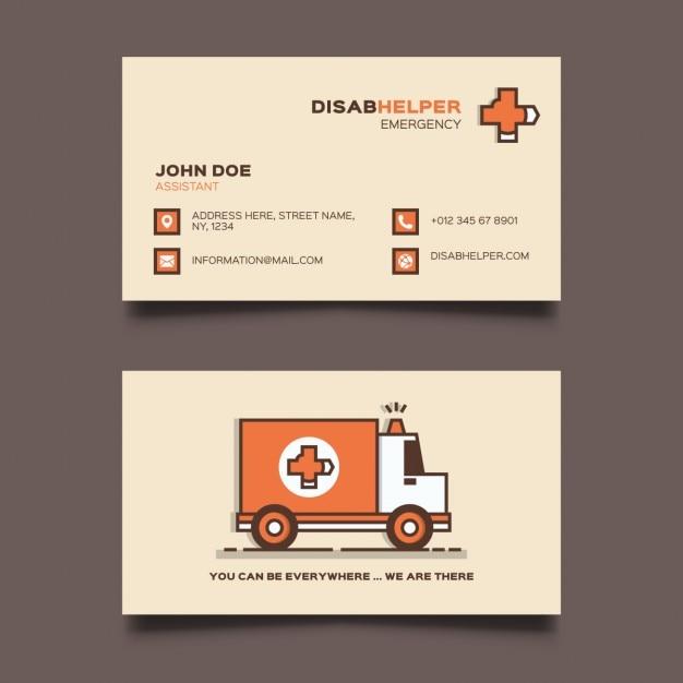Modelo do cartão de ambulância Vetor grátis