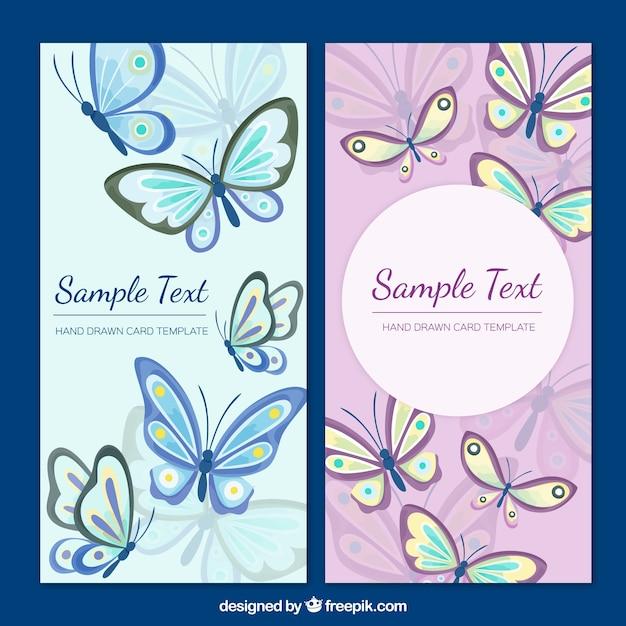 Modelo do cartão de borboletas Vetor grátis