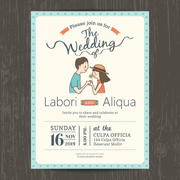 Modelo do casamento cartão de convite com o noivo bonito e noiva dos desenhos animados Vetor grátis
